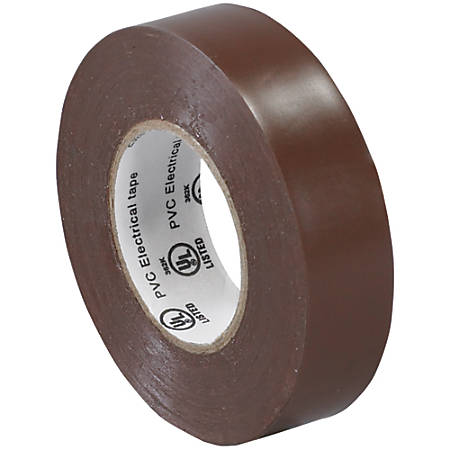 "Tape Logic® 6180 Electrical Tape, 1.25"" Core, 0.75"" x 60', Brown, Case Of 10"