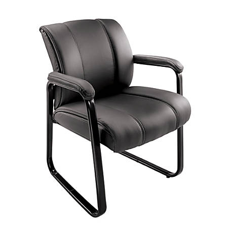 Brenton Studio Bellanca Leather Mid Back Guest Chair Black ...