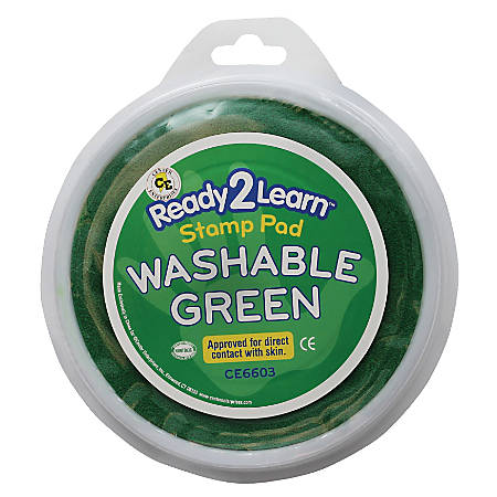 Center Enterprises Jumbo Circular Washable Paint/Ink Pads, 1 Oz, Green, Pack Of 6