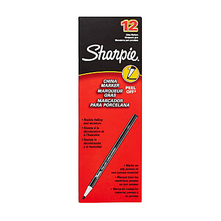 Sharpie® Peel-Off™ China Markers, Red, Box Of 12