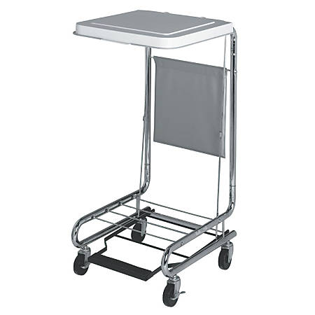 "Medline Hamper Stand With Foot Pedal, 19 1/4"" x 21"" x 9 1/4"", Chrome"