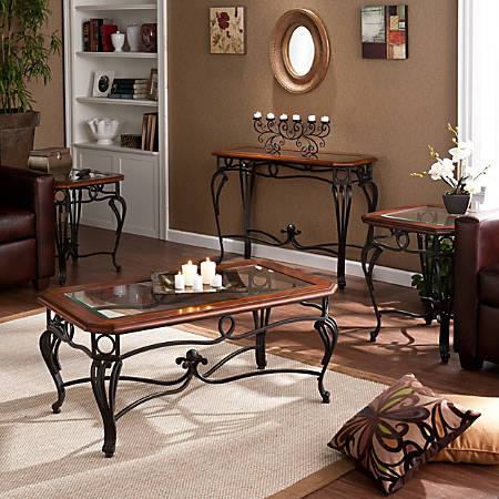 Southern Enterprises Prentice Tables, Cherry, Set Of 4