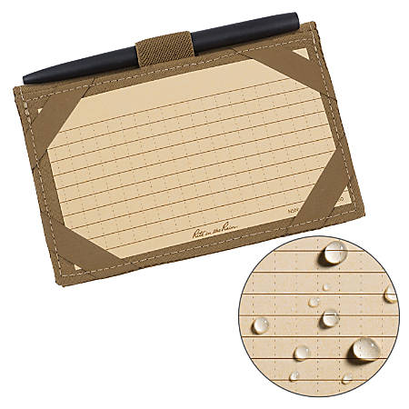"""Rite in the Rain® Cordura® Fabric Wallet Kit With All-Weather Pen And 100 Index Cards, 4""""H x 5 3/4""""W x 1/2""""D, Tan"""
