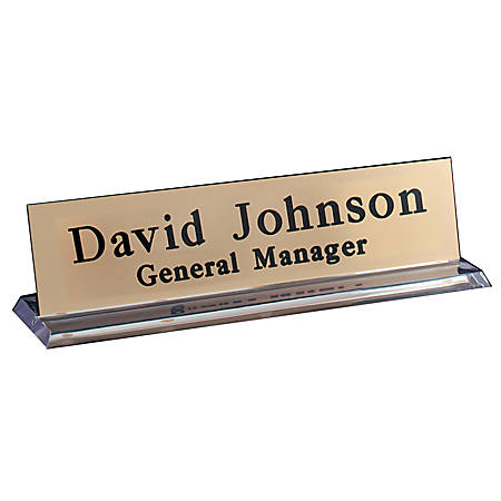 "Engraved Desk Sign, Plexiglass Base With Acrylic Engraved Sign, 2"" x 8"""