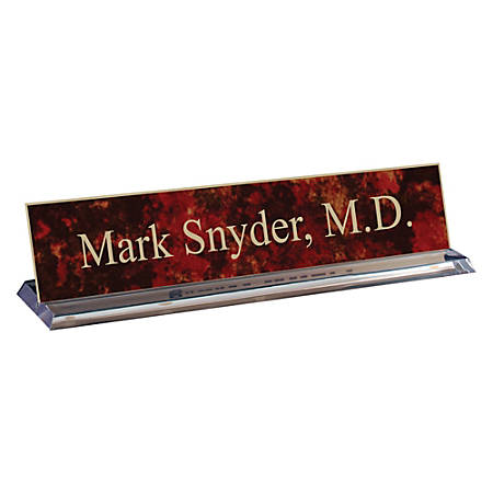 "Engraved Desk Sign, Plexiglass Base With Acrylic Engraved Sign, 2"" x 10"""