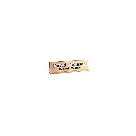 """Engraved Desk Sign, Metal Desk Holder Base With Acrylic Engraved Sign, 2"""" x 8"""""""
