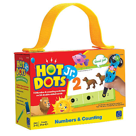 """Learning Resources® Hot Dots® Jr. Numbers And Counting Cards, 6"""" x 4"""", Pre-K - Grade 2, Set Of 36"""