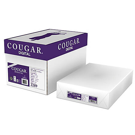 "Cougar® Digital Printing Paper, Ledger Size (11"" x 17""), 98 (U.S.) Brightness, 100 Lb Cover (270 gsm), FSC® Certified, 250 Sheets Per Ream, Case Of 3 Reams"