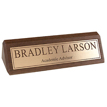 "Engraved Desk Sign, Engraved Letters With Gold Background, 1 3/4"" x 8 1/2"""
