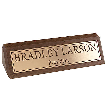 "Engraved Desk Sign, Engraved Letters With Gold Background, 1 3/4"" x 10 1/2"""