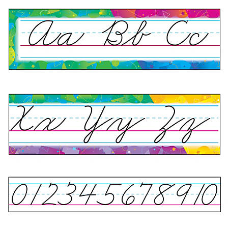 TREND Color Splash Zaner-Bloser Cursive Alphabet Bulletin Board Set, Multicolor, Grades Pre-K - 8
