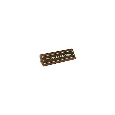 "Custom Engraved Inset Gold Foil On Walnut Desk Bar, 1-3/4"" x 8-1/2"""