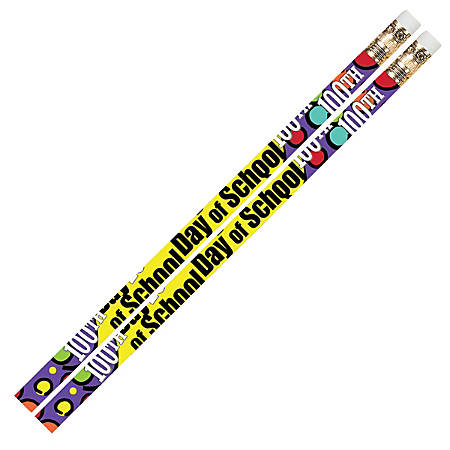 Musgrave Pencil Co. Motivational Pencils, 2.11 mm, #2 Lead, 100th Day Of School, Multicolor, Pack Of 144