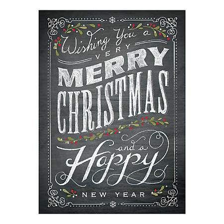 """Custom Full-Color Holiday Cards With Envelopes, 5-5/8"""" x 7-7/8"""", Chalkboard Merry Christmas, Box Of 25 Cards"""
