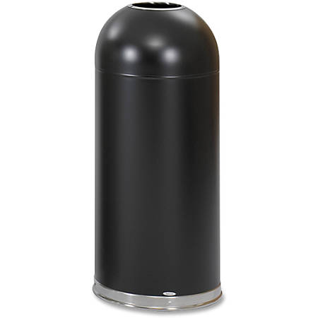Safco® Open Top Dome Receptacles, 15 Gallons, Black