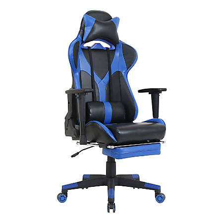 "Lorell Foldable Footrest High-back Gaming Chair - Blue, Black Seat - Blue, Black Back - 5-star Base - 44.6"" Length x 20.9"" Width x 52"" Height"