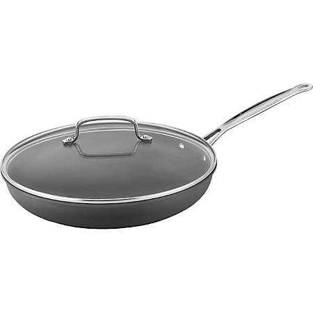 "Cuisinart 12"" Hard Anodized Non-Stick Skillet w/ Glass Cover - 12"" Diameter Skillet, Lid - Glass Lid, Stainless Steel - Oven Safe"