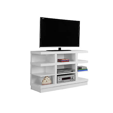 """Monarch Specialties TV Stand, Open Concept, For Flat-Panel TVs Up To 48"""", White"""