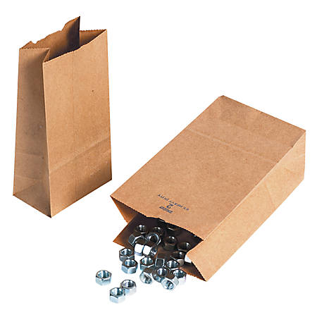 "Partners Brand Hardware Bags, 16""H x 7 3/4""W x 4 3/4""D, Kraft, Case Of 500"