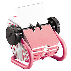 Rolodex® Rotary Business Card File, Pink Base