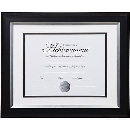 """Dax 2-tone Silver Document Frame - 16.80"""" x 14.90"""" x 1"""" Frame Size - Holds 11"""" x 14"""" Insert - Rectangle - Wall Mountable - Vertical, Horizontal - 1 Each - Bronze - Silver, Black"""