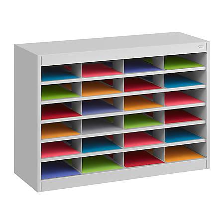 """Safco® E-Z Stor® Steel Literature Organizer, 24 Compartments, 25 3/4""""H, Gray"""