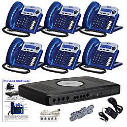 XBLUE® X16 Phone System Bundle With (6) X16 Telephones, Blue