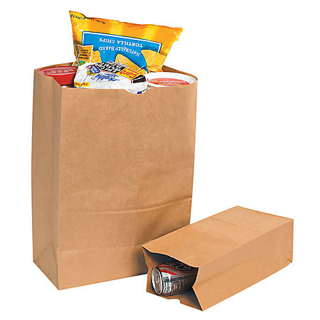 """Partners Brand Grocery Bags, 16""""H x 4 1/2""""W x 2 1/2""""D, Kraft, Case Of 500"""