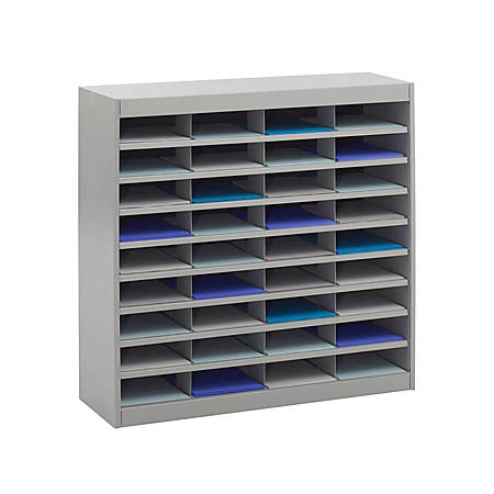 "Safco® E-Z Stor® Steel Literature Organizer, 36 Compartments, 36 1/2""H, Gray"