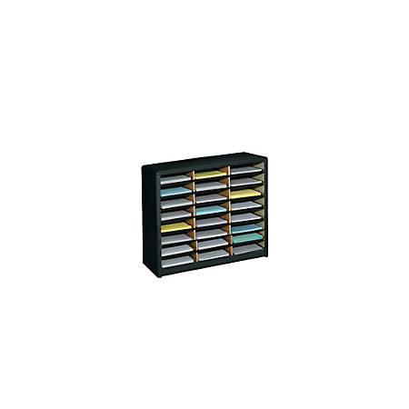 Safco® Value Sorter® Steel Corrugated Literature Organizer, 24 Compartments, Black
