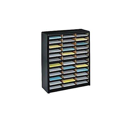 Safco® Value Sorter® Steel Corrugated Literature Organizer, 36 Compartments, Black