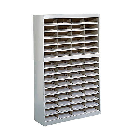 "Safco® E-Z Stor® Steel Literature Organizer, 60 Compartments, 60""H, Gray"