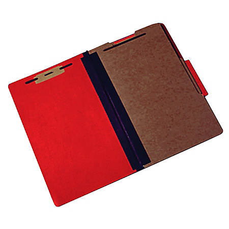 Pressboard Classification Folder, 6-Part, Legal Size, 30% Recycled, Red (AbilityOne 7530-01-463-2324)