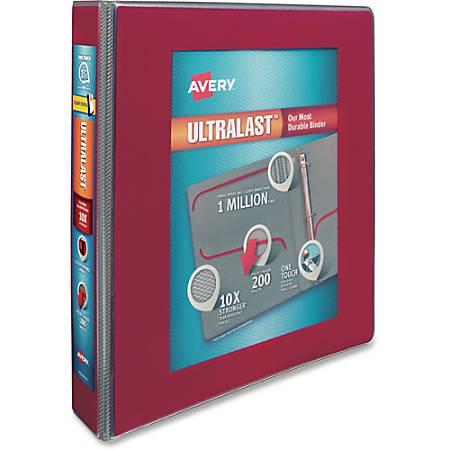 "Avery UltraLast One-Touch Slant D-ring Binder - 1 1/2"" Binder Capacity - Letter - 8 1/2"" x 11"" Sheet Size - 200 Sheet Capacity - Ring Fastener(s) - 2 Internal Pocket(s) - Red - 1 Each"