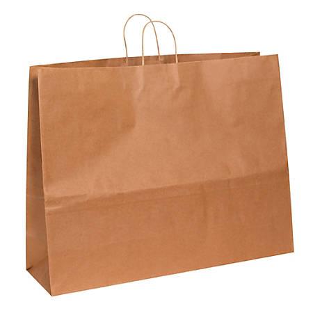 "Partners Brand Paper Shopping Bags, 18 3/4"" x 24""W x 7 1/4""D, Kraft, Case Of 125"