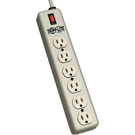 Tripp Lite Waber Power Strip Metal 5-15R 6 Outlet 5-15P 15' Cord - NEMA 5-15P - 6 NEMA 5-15R - 15ft