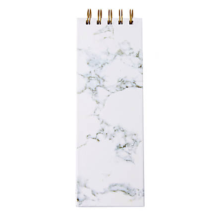 """Sincerely A Collection By C.R. Gibson® Twin-Wire List Pad, 3""""W x 8 3/4""""H, Faint Ruled, 300 Pages (150 Sheets), Grey Marble"""