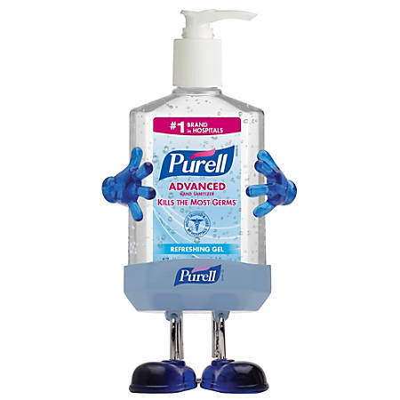 "Purell® Pal Desktop Holder With 8 Oz. Purell® Instant Hand Sanitizer, 8 1/4""H x 4 3/8""W x 3 5/8""D, Blue"