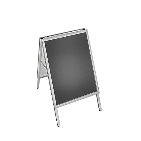 """Azar Displays Steel A-Board Sign Holder With Snap Frame, 28"""" x 22"""", Silver"""