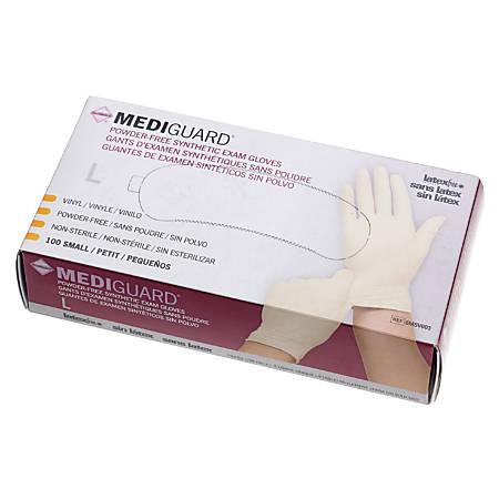 MediGuard Powder-Free Vinyl Synthetic Exam Gloves, Large, Cream, 100 Gloves Per Box, Case Of 10 Boxes