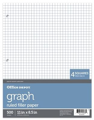 office depot brand quadrille ruled notebook filler paper 8 12 x 11 white pack of 500 sheets by office depot officemax