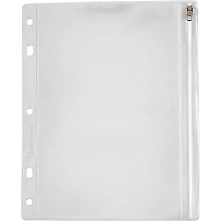 "Oxford Zipper Binder Pockets - 10 1/2"" x 8"" Sheet - Ring Binder - Rectangular - Clear, White - Poly - 1 Each"
