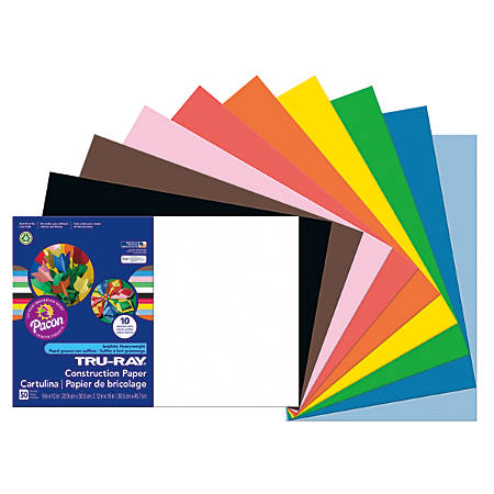 "Tru-Ray® Construction Paper, 50% Recycled, Assorted Colors, 12"" x 18"", Pack Of 50"