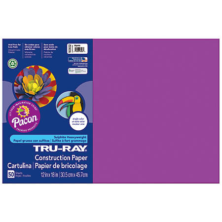 """Tru-Ray® Construction Paper, 50% Recycled, 12"""" x 18"""", Magenta, Pack Of 50"""