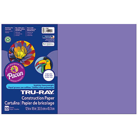 "Tru-Ray® Construction Paper, 50% Recycled, 12"" x 18"", Violet, Pack Of 50"