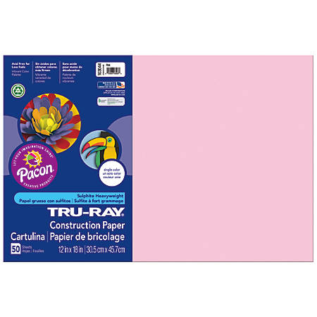 """Tru-Ray® Construction Paper, 50% Recycled, 12"""" x 18"""", Pink, Pack Of 50"""