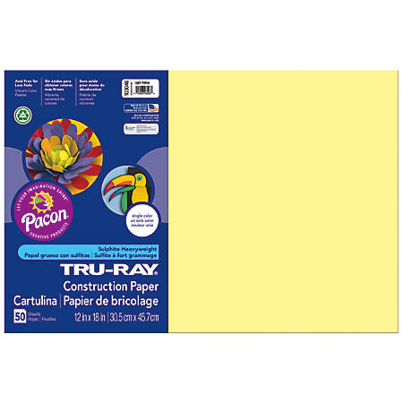 """Tru-Ray® Construction Paper, 50% Recycled, 12"""" x 18"""", Light Yellow, Pack Of 50"""