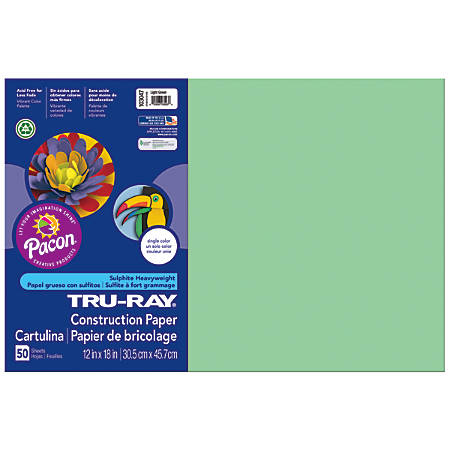 "Tru-Ray® Construction Paper, 50% Recycled, 12"" x 18"", Light Green, Pack Of 50"