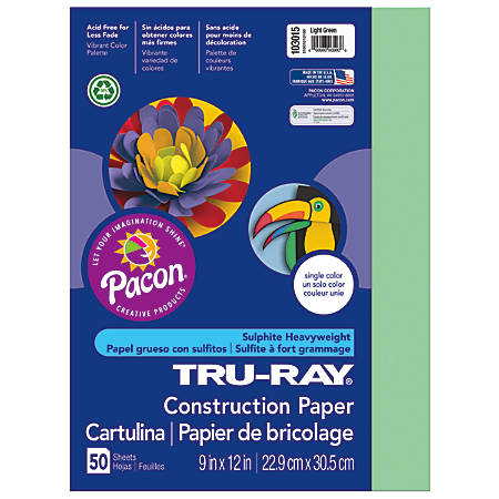 """Tru-Ray® Construction Paper, 50% Recycled, 9"""" x 12"""", Light Green, Pack Of 50"""
