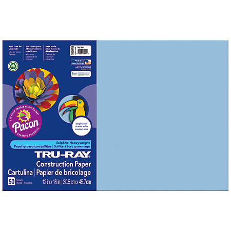 "Tru-Ray® Construction Paper, 50% Recycled, 12"" x 18"", Sky Blue, Pack Of 50"